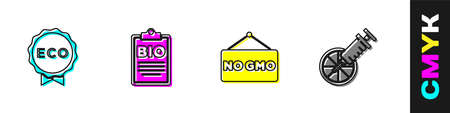 Set Label for eco healthy food, Document bio, No GMO and Genetically modified orange icon. Vector