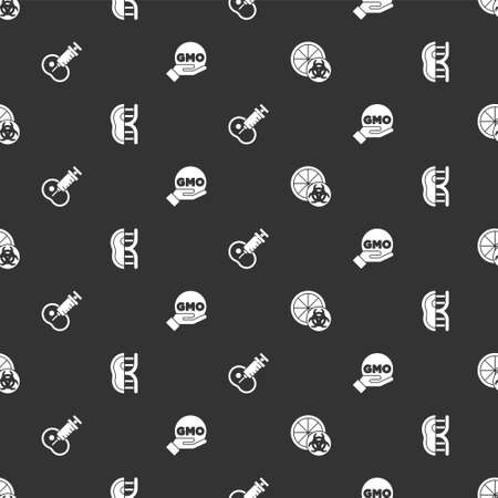 Set Genetically modified orange, meat, and GMO on seamless pattern. Vector