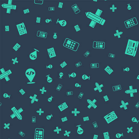 Set Mobile Apps, Crossed ruler and pencil, Front end development and UI or UX design on seamless pattern. Vector