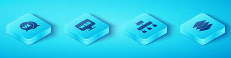 Set Isometric UI or UX design, Web and graphic, Layers and Site map icon. Vector