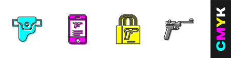 Set Gun in holster, Shop weapon mobile app, Buying gun pistol icon. Vector