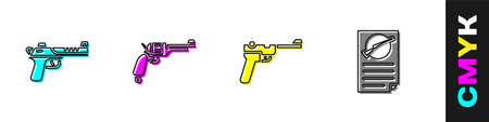 Set gun, Revolver, Firearms license certificate icon. Vector