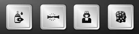 Set Eye drop bottle, Bone pain, Nurse and Psoriasis or eczema rash icon. Silver square button. Vector