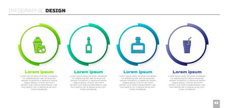 Set Cocktail shaker, Champagne bottle, Whiskey and Glass of juice. Business infographic template. Vector