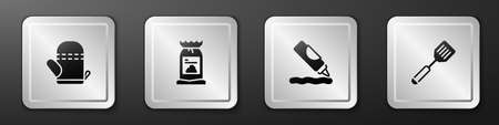 Set Oven glove, Barbecue coal bag, Ketchup bottle and Spatula icon. Silver square button. Vector