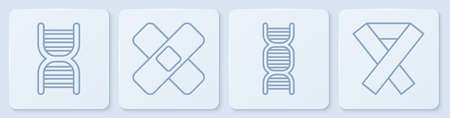 Set line DNA symbol, Crossed bandage plaster and Awareness ribbon. White square button. Vector Stock Illustratie