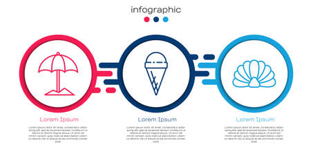 Set line Sun protective umbrella for beach, Ice cream in waffle cone and Scallop sea shell. Business infographic template. Vector