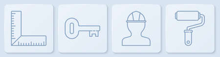 Set line Corner ruler, Worker safety helmet, Old key and Paint roller brush. White square button. Vector Ilustração