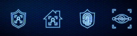 Set line Fingerprint in shield, Shield face recognition, Smart home with id and Eye scan. Glowing neon icon on brick wall. Vector