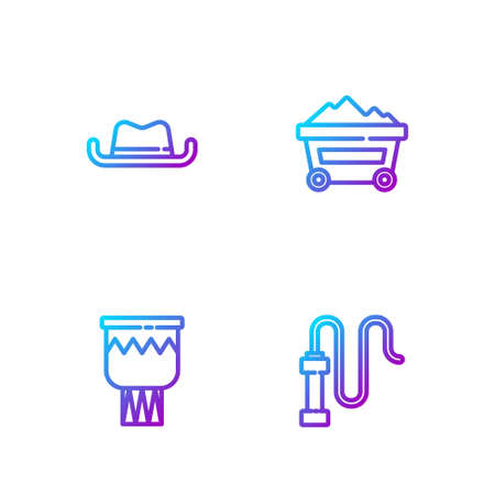Set line Leather whip, Drum, Western cowboy hat and Coal mine trolley. Gradient color icons. Vector