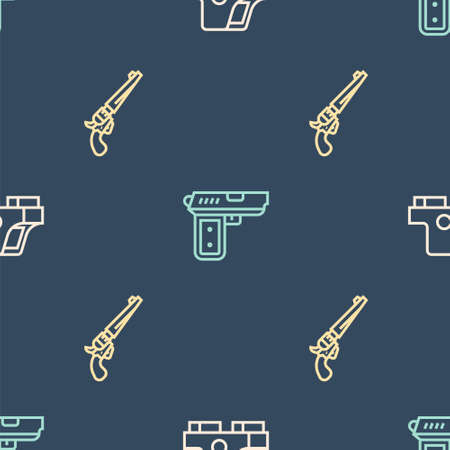 Set line Collimator sight, Revolver gun and Pistol on seamless pattern. Vector