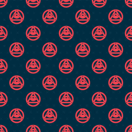 Red line Masons symbol All-seeing eye of God icon isolated seamless pattern on black background. The eye of Providence in the triangle. Vector.