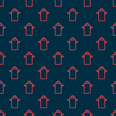 Red line Can container for milk icon isolated seamless pattern on black background. Vector.