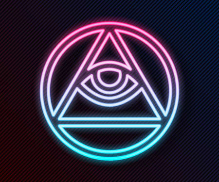 Glowing neon line Masons symbol All-seeing eye of God icon isolated on black background. The eye of Providence in the triangle. Vector. Vectores