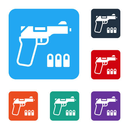 White Pistol or gun icon isolated on white background. Police or military handgun. Small firearm. Set icons in color square buttons. Vector