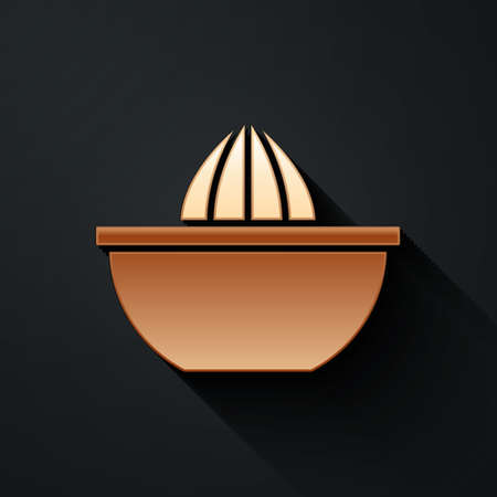 Gold Citrus fruit juicer icon isolated on black background. Long shadow style. Vector
