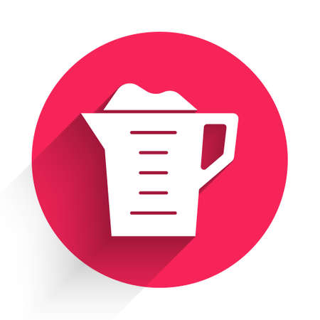 White Washing powder in a measuring cup icon isolated with long shadow. Red circle button. Vector