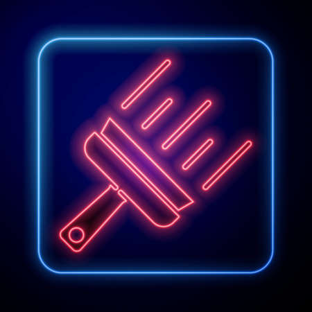 Glowing neon Cleaning service with of rubber cleaner for windows icon isolated on blue background. Squeegee, scraper, wiper. Vector