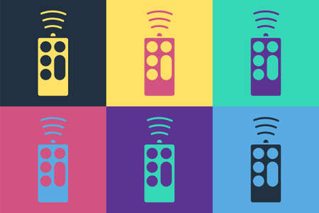 Pop art Remote control icon isolated on color background. Vector