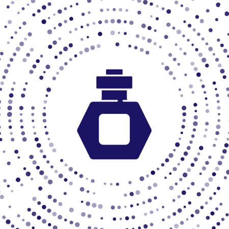 Blue Perfume icon isolated on white background. Abstract circle random dots. Vector