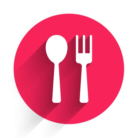 White Fork and spoon icon isolated with long shadow. Cooking utensil. Cutlery sign. Red circle button. Vector