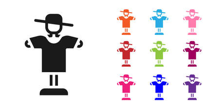 Black Scarecrow icon isolated on white background. Set icons colorful. Vector