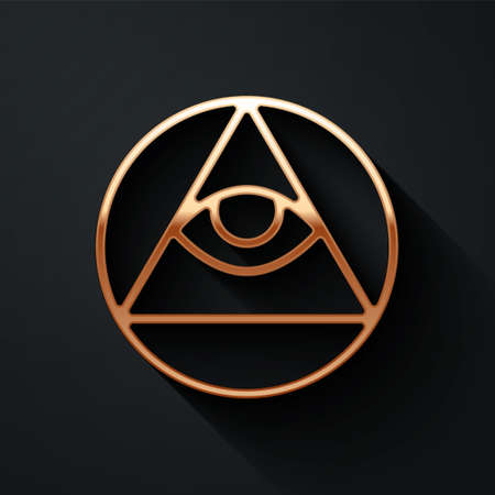 Gold Masons symbol All-seeing eye of God icon isolated on black background. The eye of Providence in the triangle. Long shadow style. Vector Ilustración de vector