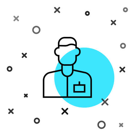 Black line Analyst engineer icon isolated on white background. Random dynamic shapes. Vector