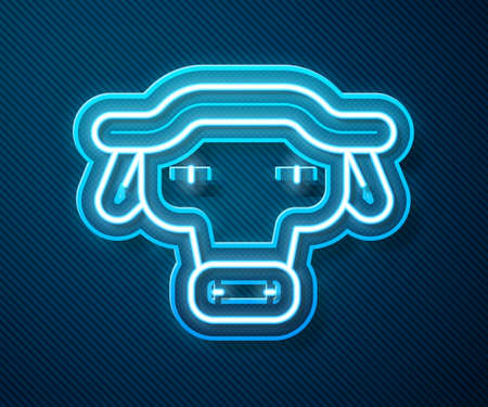 Glowing neon line African buffalo head icon isolated on blue background. Mascot, african savanna animal. Wild ox, carabao or bison bull with fused horns. Vector