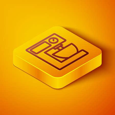 Isometric line Electric mixer icon isolated on orange background. Kitchen blender. Yellow square button. Vector