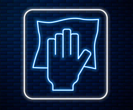 Glowing neon line Cleaning service icon isolated on brick wall background. Latex hand protection sign. Housework cleaning equipment symbol. Vector