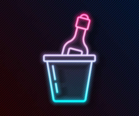 Glowing neon line Bottle of champagne in an ice bucket icon isolated on black background. Vector