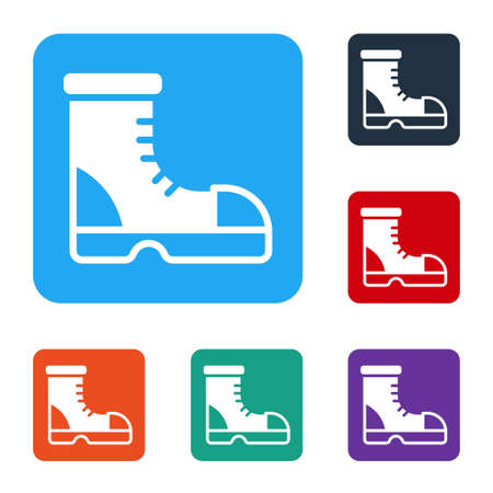 White Hunter boots icon isolated on white background. Set icons in color square buttons. Vector Vector Illustration