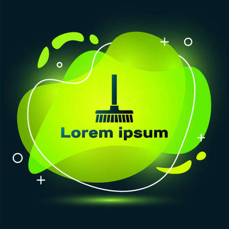 Black Handle broom icon isolated on black background. Cleaning service concept. Abstract banner with liquid shapes. Vector
