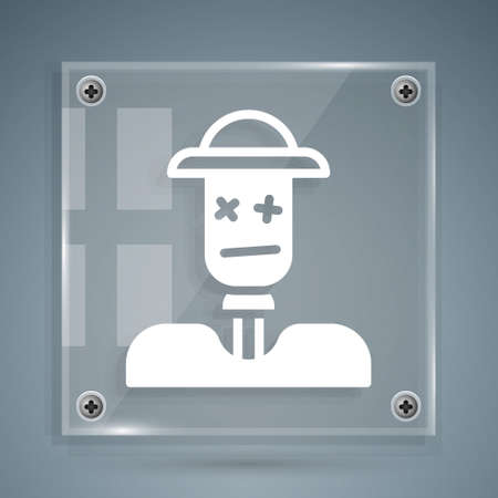 White Scarecrow icon isolated on grey background. Square glass panels. Vector