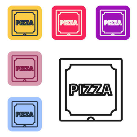 Black line Pizza in cardboard box icon isolated on white background. Box with layout elements. Set icons in color square buttons. Vector Illustration