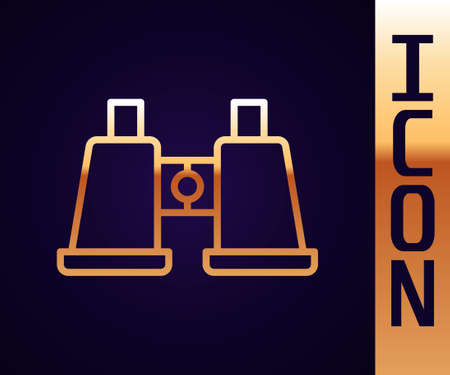 Gold line Binoculars icon isolated on black background. Find software sign. Spy equipment symbol. Vector