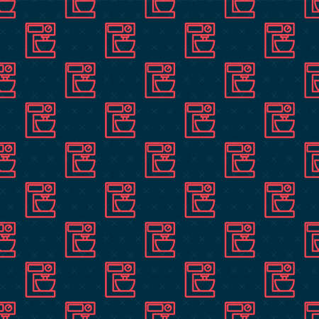 Red line Electric mixer icon isolated seamless pattern on black background. Kitchen blender. Vector