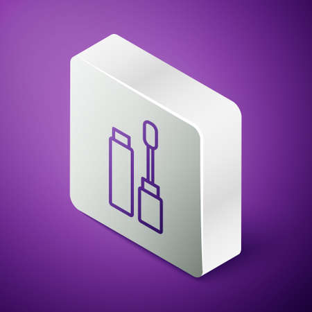 Isometric line Mascara brush icon isolated on purple background. Silver square button. Vector