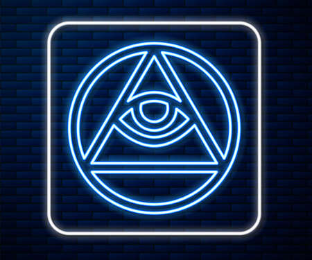 Glowing neon line Masons symbol All-seeing eye of God icon isolated on brick wall background. The eye of Providence in the triangle. Vector
