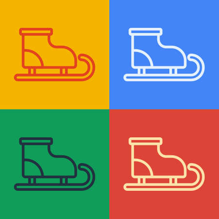 Pop art line Figure skates icon isolated on color background. Ice skate shoes icon. Sport boots with blades. Vector