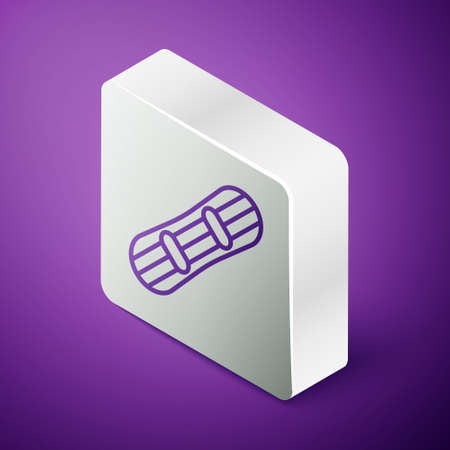 Isometric line Snowboard icon isolated on purple background. Snowboarding board icon. Extreme sport. Sport equipment. Silver square button. Vector