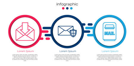 Set line Envelope, Envelope with shield and Mail box. Business infographic template. Vector