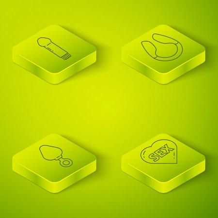 Set Isometric Dildo vibrator, Anal plug, Heart with text Sex and Dildo icon. Vector