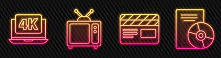 Set line Movie clapper, Laptop with 4k video, Retro tv and CD or DVD disk. Glowing neon icon. Vector Vektoros illusztráció