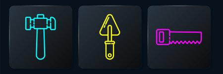 Set line Hammer, Hand saw and Trowel. Black square button. Vector Illusztráció