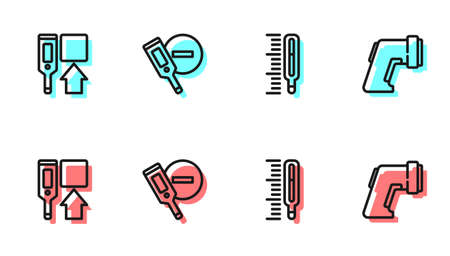 Set line Medical thermometer, Digital, and icon. Vector
