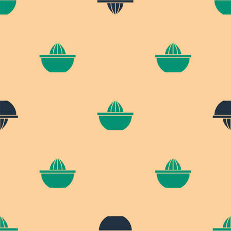 Green and black Citrus fruit juicer icon isolated seamless pattern on beige background. Vector Vector Illustratie