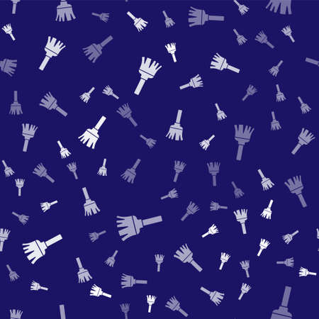 White Feather broom for cleaning icon isolated seamless pattern on blue background. Feather duster. Vector