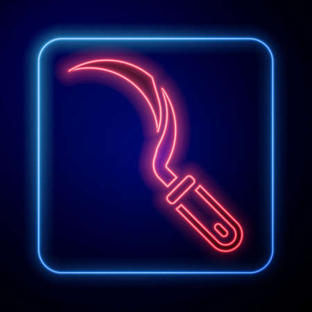 Glowing neon Sickle icon isolated on blue background. Reaping hook sign. Vector